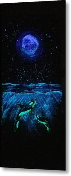 Moon Lit Orcas Metal Print