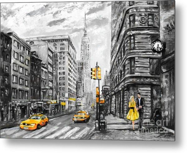 Oil Painting On Canvas, Street View Of Metal Print