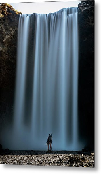 Amongst Giants Skogafoss Iceland Metal Print