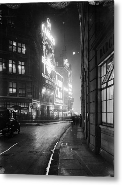 Piccadilly Circus Metal Print by Topical Press Agency