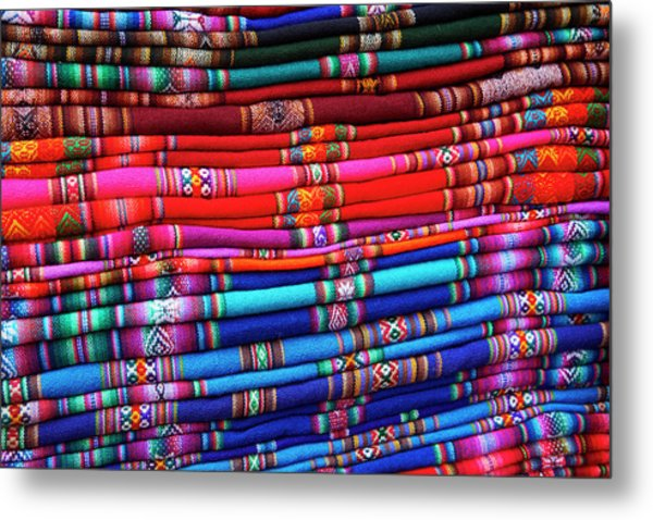 Piles Of Colorful Cloth For Sale Metal Print by David Wall