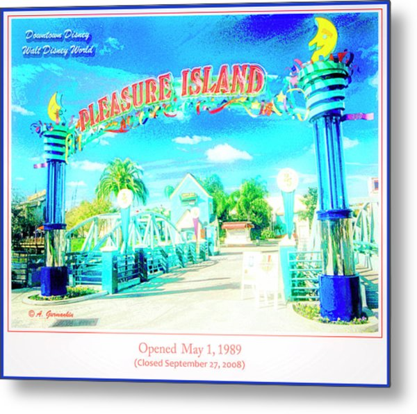 Pleasure Island Sign And Walkway Downtown Disney Metal Print