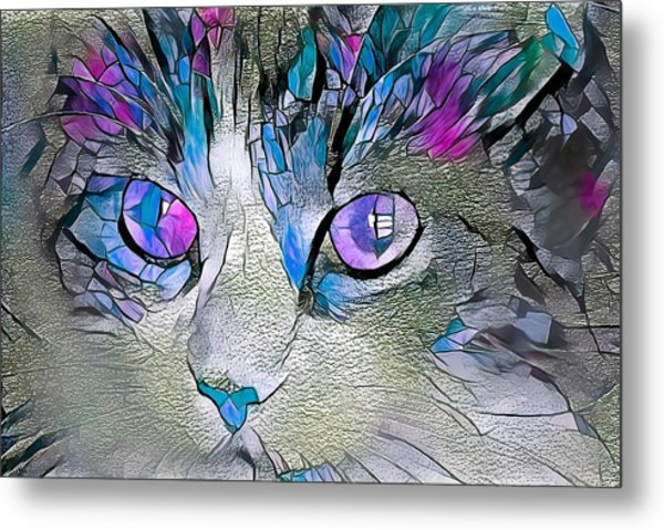 Purple Stained Glass Kitty Metal Print