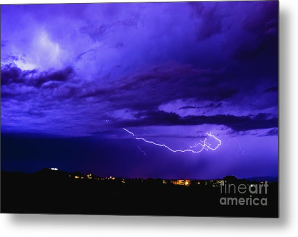 Rays In A Night Storm With Light And Clouds. Metal Print