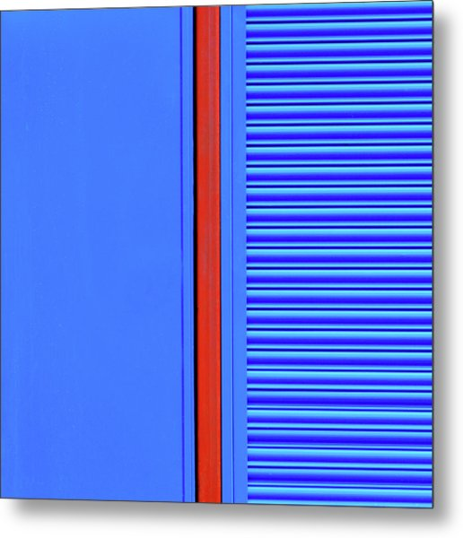 Blue With Red Stripe Metal Print