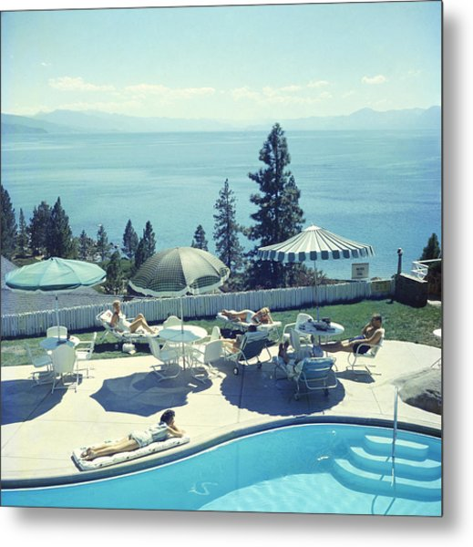 Relaxing At Lake Tahoe Metal Print by Slim Aarons