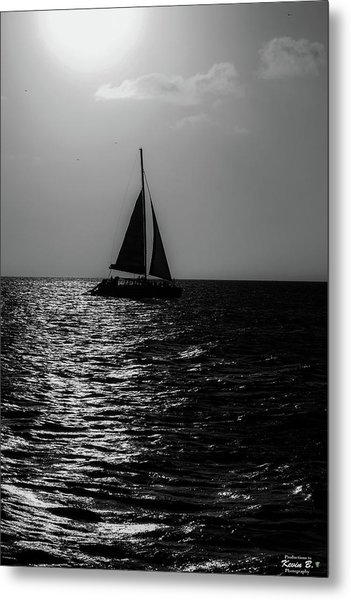 Sailing Into The Sunset Black And White Metal Print