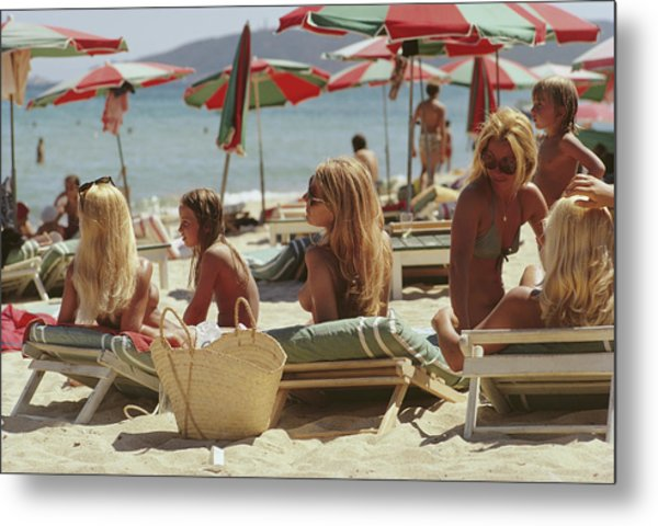 Saint-tropez Beach Metal Print by Slim Aarons
