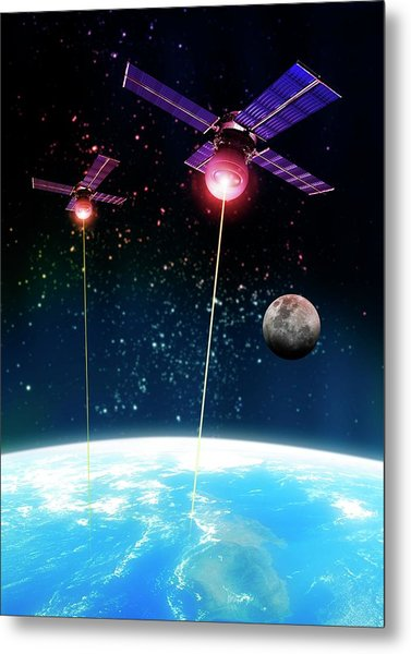 Satellite Attack, Artwork Metal Print by Victor Habbick Visions