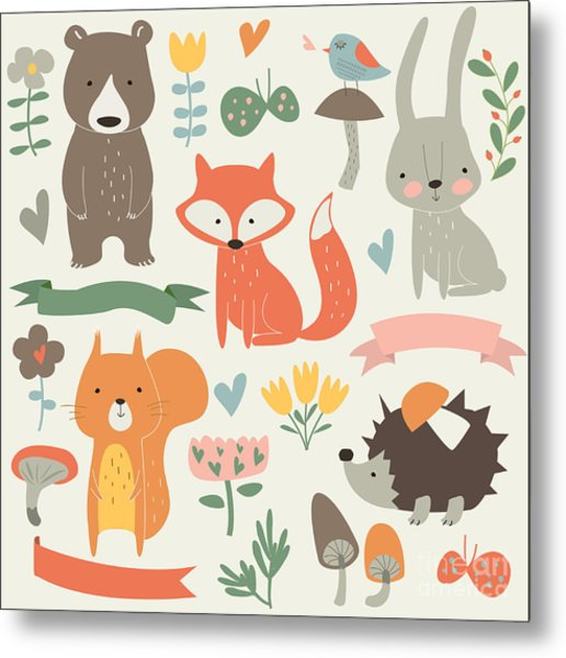 Set Of Forest Animals In Cartoon Style Metal Print by Kaliaha Volha