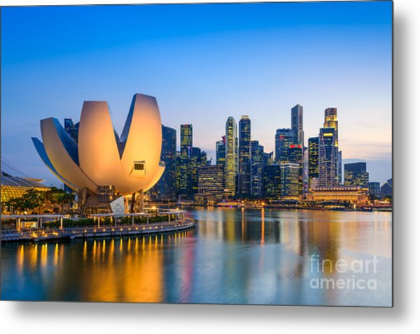 Singapore Skyline At The Marina During Metal Print by Sean Pavone