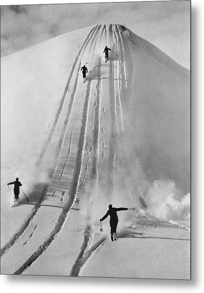 Skiing Straight Metal Print