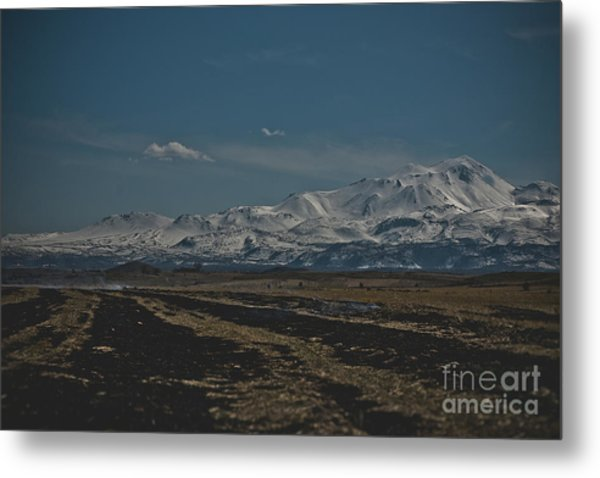 Snow-covered Mountains In The Turkish Region Of Capaddocia. Metal Print