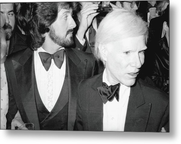 Stallone & Warhol Attend Whitney Opening Metal Print by Fred W. McDarrah