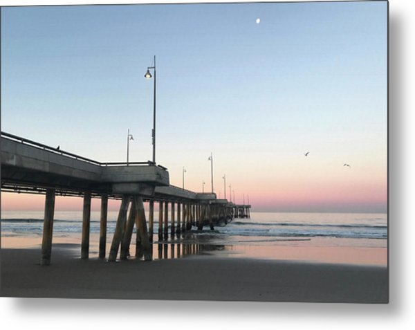 Sunrise At Venice Beach Pier Metal Print