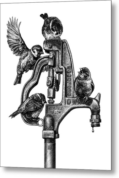 Talk Around The Watercooler Metal Print
