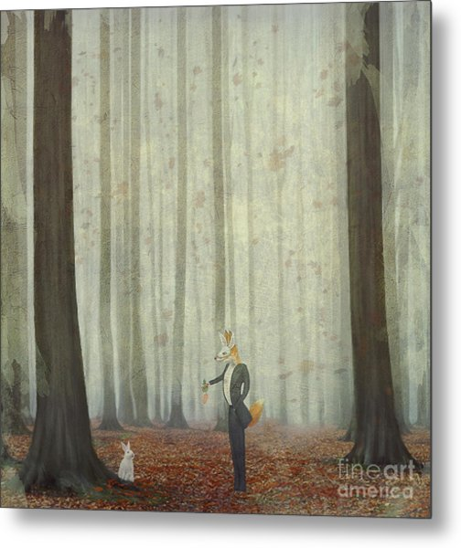 The Fox In A Wood To Hunt On A Hare Metal Print by Natalia maroz