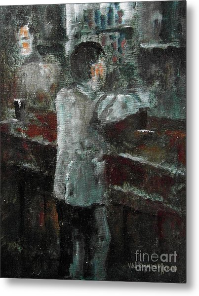 Metal Print featuring the painting The Pint Man by Val Byrne