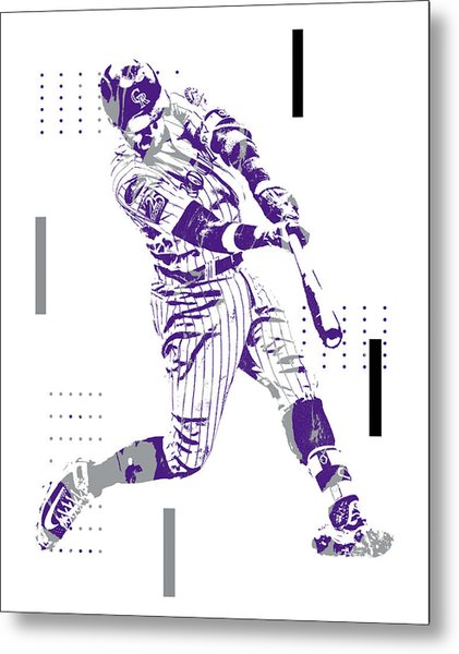 Trevor Story Colorado Rockies Pixel Art 10 Metal Print
