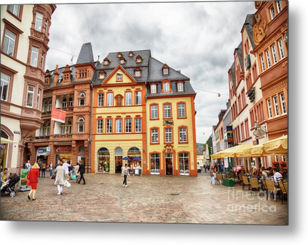 Trier, Germany,  People By Market Day Metal Print