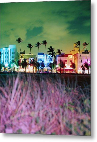 Usa, Florida, Miami, Ocean Drive, Night Metal Print