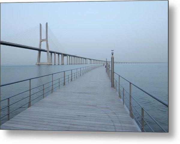 Vasco Da Gama Bridge, Tagus River Metal Print by Martin Ruegner