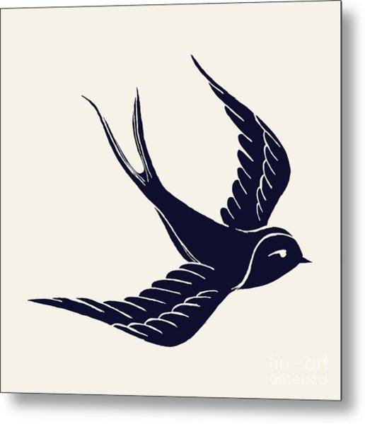 Vector Ink Pen Hand Drawn Flying Metal Print