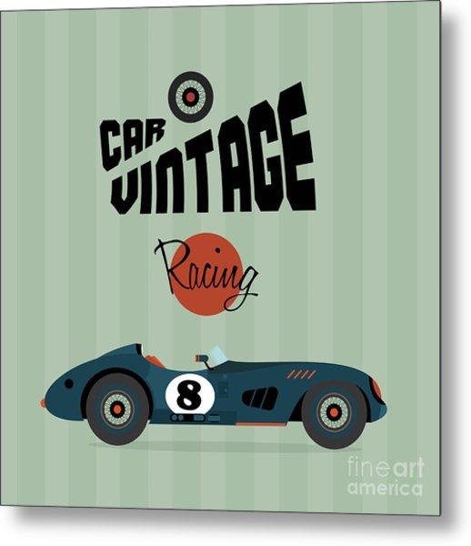 Vector Vintage Sport Racing Car Metal Print