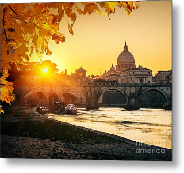 View At Tiber And St. Peters Cathedral Metal Print