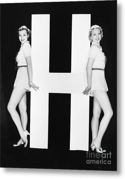 Women Posing With Huge Letter H Metal Print by Everett Collection
