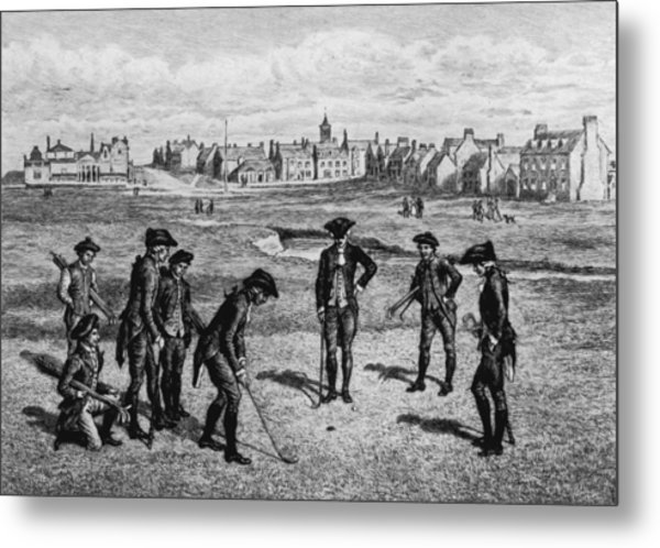18th Century Golfers Metal Print by Hulton Archive