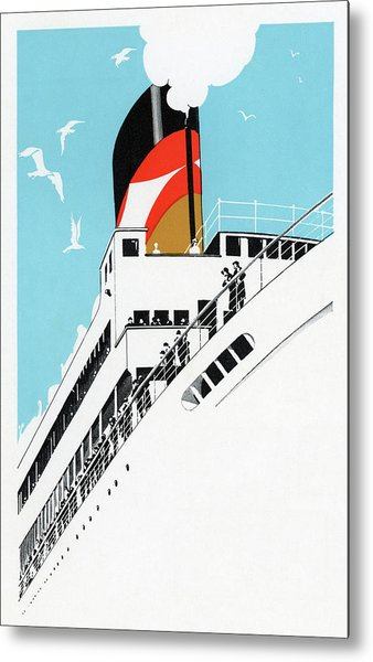 1920s Cruise Ship Metal Print by Graphicaartis