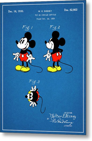 1930 Walt Disney Colorized Mickey Mouse Patent Print Blueprint Metal Print