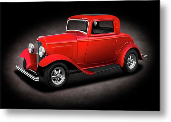 1932 Ford 3 Window Coupe  - 1932fordthreewindowcpespttext186144 Metal Print