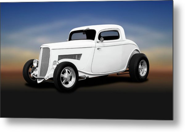 1933 Ford 3 Window Coupe   -  1933ford3windowcoupewhite196599 Metal Print by Frank J Benz
