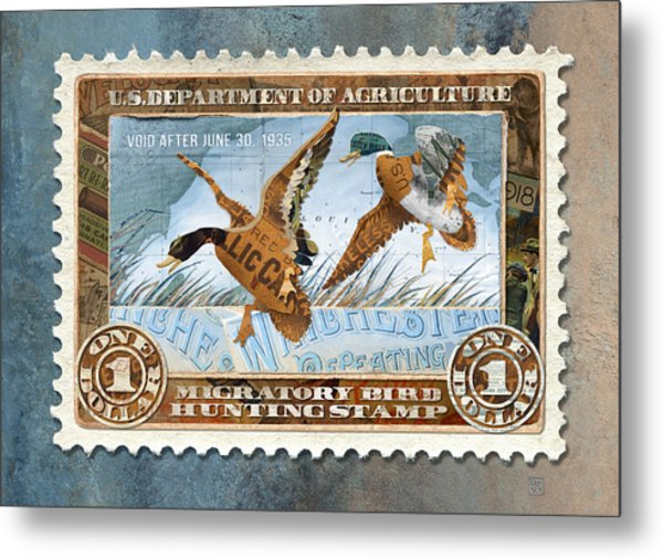 1934 Hunting Stamp Collage Metal Print