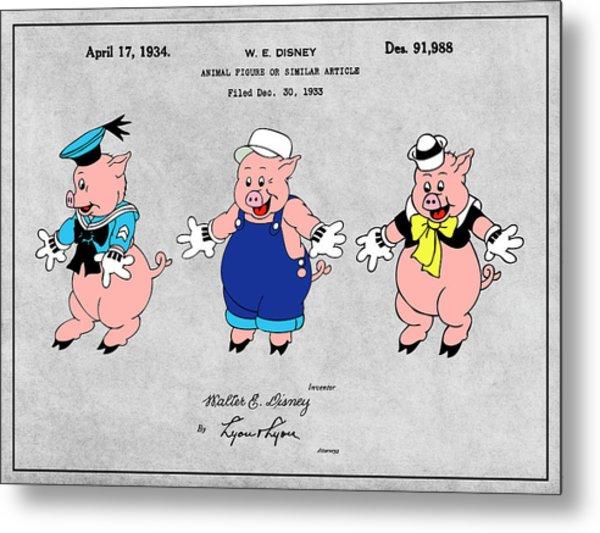 1934 Walt Disney Three Little Pigs Colorized Gray Patent Print Metal Print