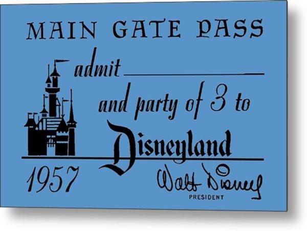 1957 Ddisneyland Cast Member Pass Metal Print