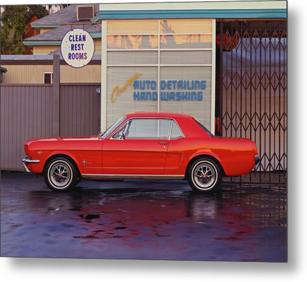 1964 12 Ford Mustang Coupe At Billys Metal Print by Car Culture