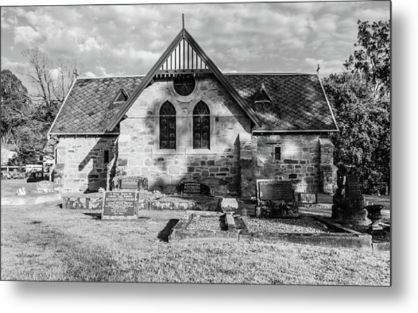 19th Century Sandstone Church In Black And White Metal Print