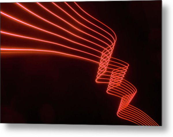 Abstract Colored Light Trails With Metal Print