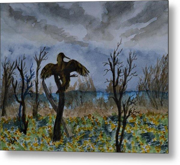 Anhinga Pose And Wildflowers  Metal Print