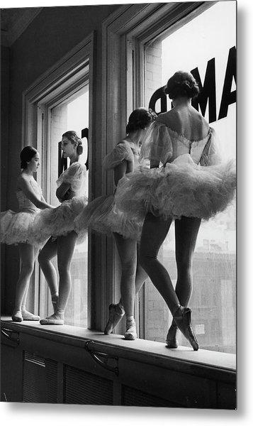 Ballerinas Standing On Window Sill In Metal Print