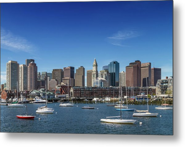 Boston Skyline North End And Financial District Metal Print by Melanie Viola