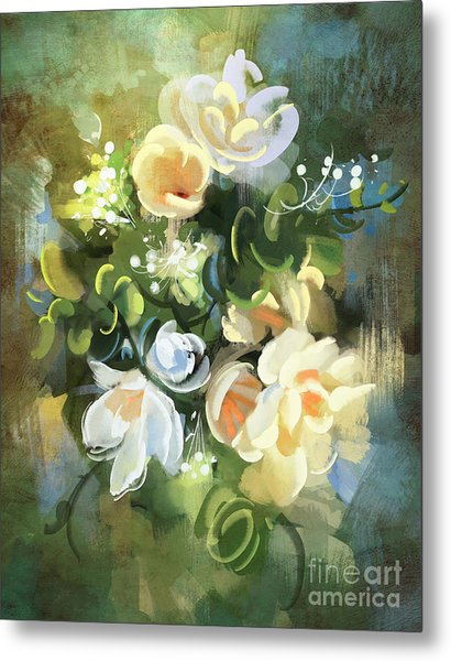Bouquet Of Flowers,digital Metal Print by Tithi Luadthong