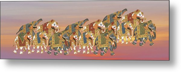 Caparisoned Elephants   Metal Print