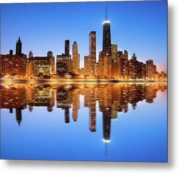 Chicago Skyline By Night Metal Print