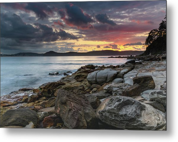 Colours Of A Stormy Sunrise Seascape Metal Print