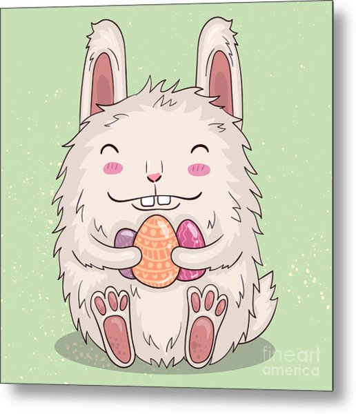 Easter Funny Bunny With Eggs. Vector Metal Print