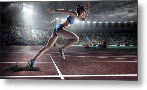 Female Athlete Sprinting Metal Print by Dmytro Aksonov